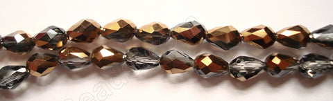 Smoky Bronzite Crystal Qtz AB  -  Faceted Drops Vertical Drill 12""