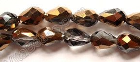 Smoky Bronzite Crystal Quartz AB  -  5x8mm Faceted Drop 12""