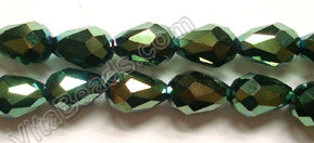 Metallic Peacock Qtz  -  5x8mm Faceted Drop 12""