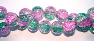 Explosion Crystal  -  Mixed Green Pink  -  Smooth Round  16""