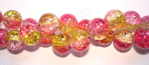 Explosion Crystal  -  Mixed Pink Yellow  -  Smooth Round  16""