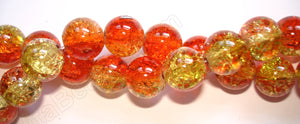 Explosion Crystal  -  Mixed Red Yellow  -  Smooth Round  16""