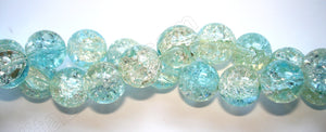 Explosion Crystal  -  Mixed Aqua Green -  Smooth Round  16""