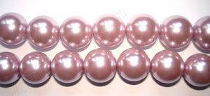 "Glass Pearl   -  25 Lavender Pink  -  Smooth Round  16""  16mm"