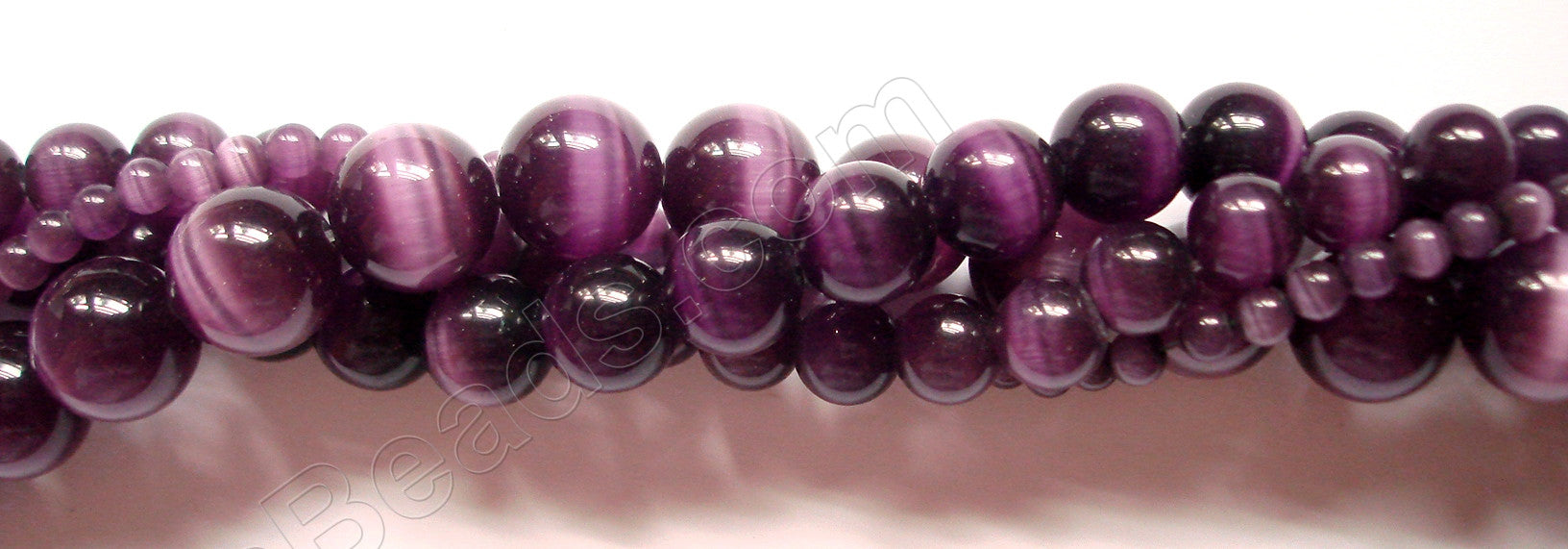 Cat's Eye Smooth Round  -  Dark Purple 16""