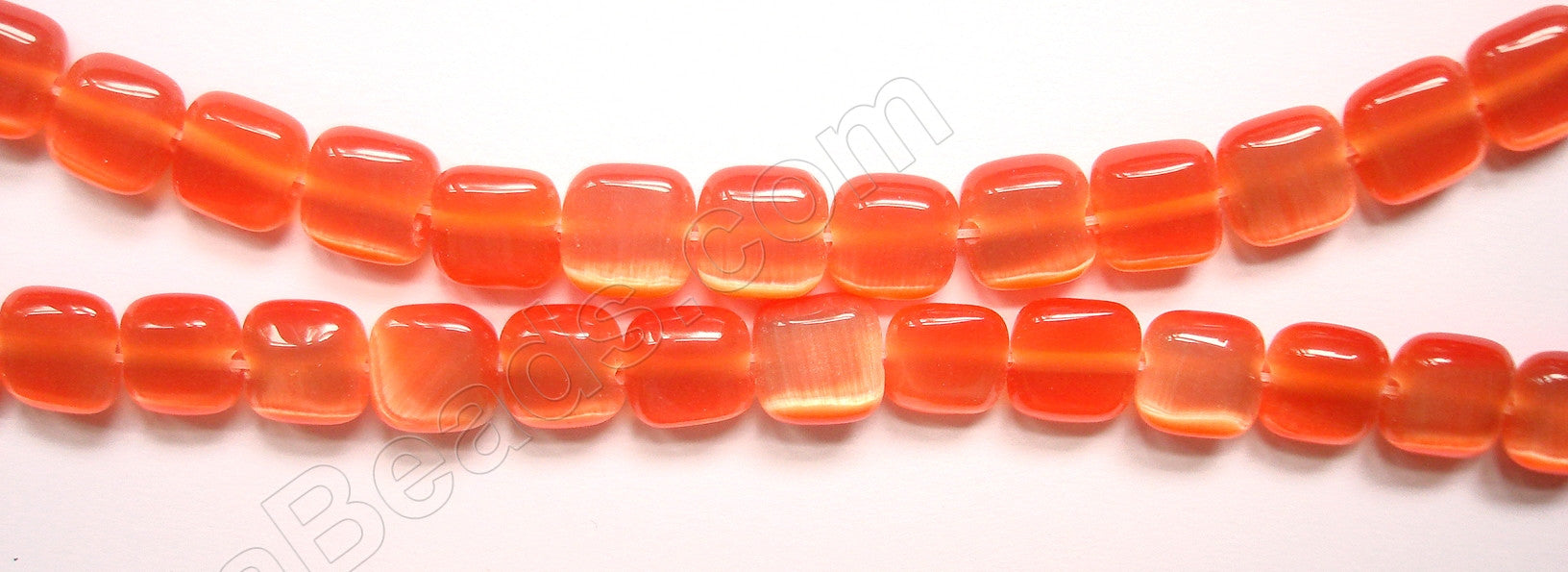 "Cat's Eye  -  Puff Square  -  Orange  16""    8 mm"