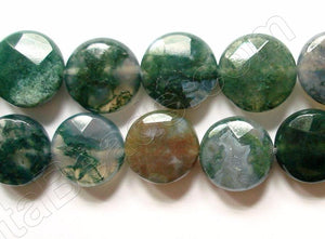Moss Agate  -  Faceted Coin  16""