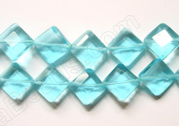 Double Edge Di-drilled Faceted Square  -  Ocean Blue Crystal  16""