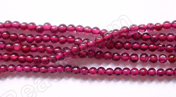Garnet AAA  -  Small Smooth Round Beads 16""
