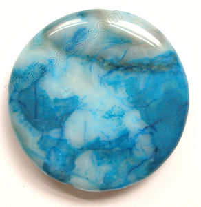 Pendant - Smooth Round Blue Brazilian Agate - Dark