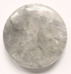 Pendant - Smooth Round Grey Quartz - Light