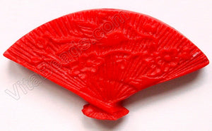 Cinnabar - Carved Fan Pendant - 21x39mm