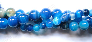 Blue Sardonix Agate  -  Smooth Round Beads  16""