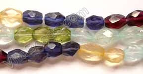Multi Gems 5 Color  -  6-8mm Faceted Oval  14""