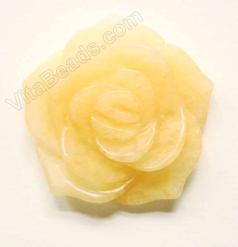 Carved Small Rose Pendent Honey jade