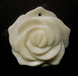Carved Small Rose Pendent White Mother of Pearl