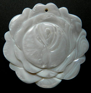 Carved Shell Pendant Round Rose - Cream White
