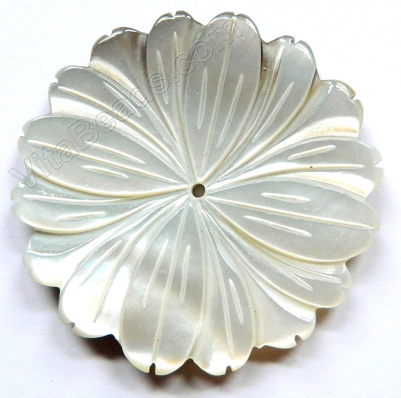 Carved Shell Pendant Dandelion - Natural Cream