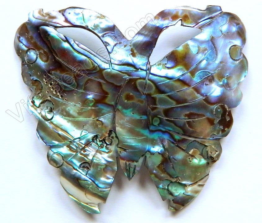 Abalone - Carved Butterfly Pendant - Dark Peacock 48x42mm