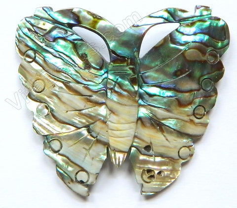 Abalone - Carved Butterfly Pendant - Light Peacock 48x42mm