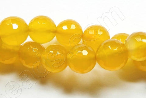 Yellow Agate AA  -  Faceted Round  16""