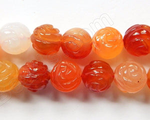 Natural Carnelian  -  Carved Rose Round Beads  16""