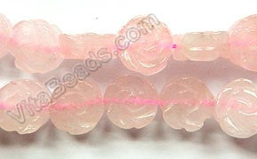 "Rose Quartz - Carved Rose Coins Strand  16""    14 mm"