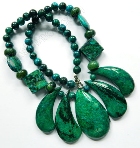 Dyed Chrysacolla Turquoise Necklace 18""