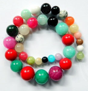 Mixed Color Jade Dark Graduated Necklace 16""