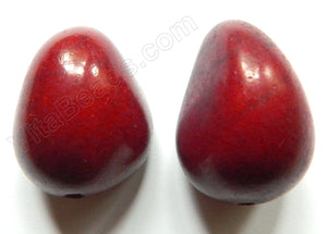 Smooth Pendant - Egg Tagua - Palm Tree Nuts Dark Red