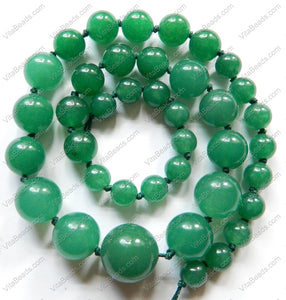 Green Aventurine Graduated Smooth Round Necklace 16""