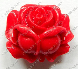 Carved Small Rose Pendent   Synthetic Coral