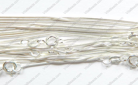 S925 Sterling Silver Snake Chain w/ Spring Ring Made in Italy Chain  18""