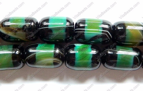 Mixed Green and Black Agate  -  Smooth Drum  16""