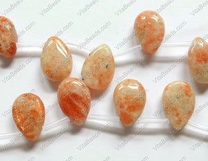 Pink Sunstone  -  Smooth Flat Briolette  16""