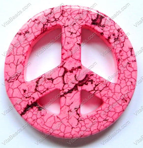 Round Peace Donut Pendant - Cracked Dark Pink Turquoise
