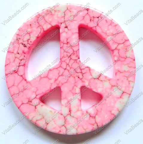Round Peace Donut Pendant - Cracked Light Pink Turquoise