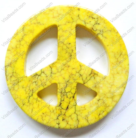 Round Peace Donut Pendant - Cracked Light Yellow Turquoise