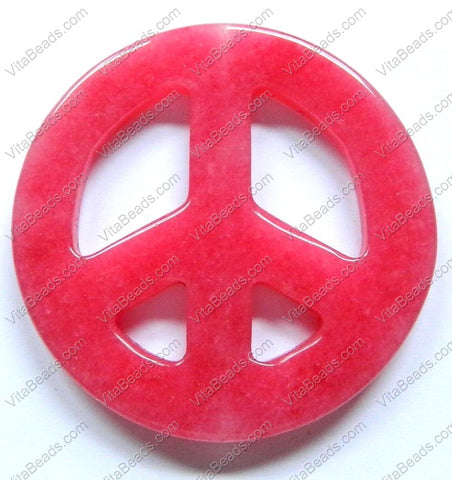 Round Peace Donut Pendant - Red Jade