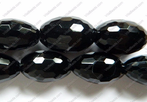 Black Onyx AA -  Faceted Rice  16""