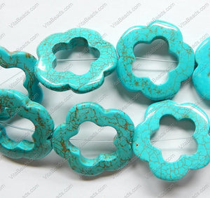 Blue Cracked Turquoise  -  Flower Donut Strand  16""