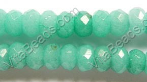 Amazonite Green Jade  -  8mm Faceted Rondels  16""