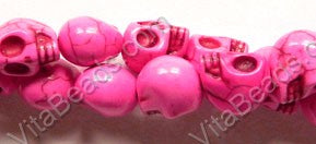 Light Fuchsia Turquoise  -  Carved Skulls 16""
