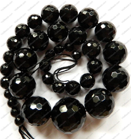 Black Onyx    Graduated Faceted Round Necklace 16""