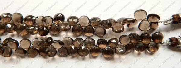 Smoky Topaz  AAA  -  Faceted Flat Briolette, Faceted Heart Side-drill  6""