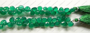 Emerald AAA  -  Faceted Flat Briolette, Faceted Heart Side-drill  6""