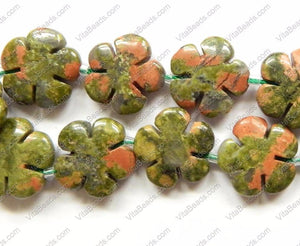 "Unakite  -  Carved 5 Petal Flower Strand  16""    20 mm"