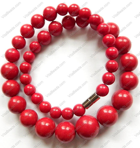 "Synthetic Coral Graduated Smooth Round Necklace 18""    7 - 15 mm"