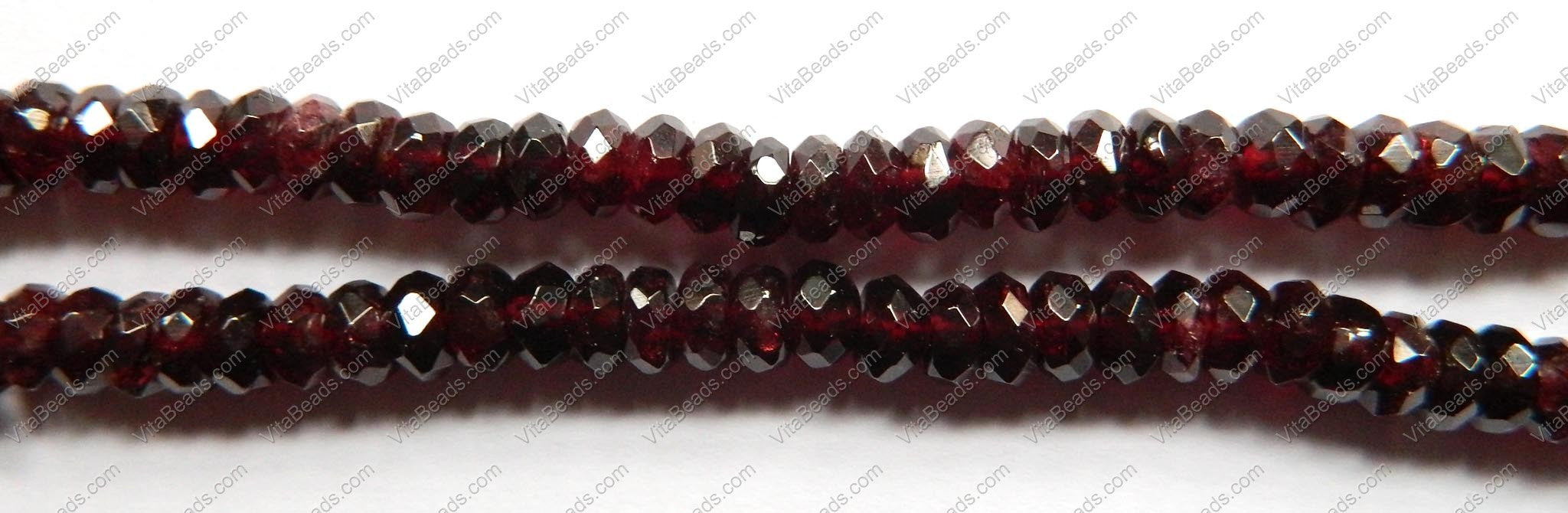 Garnet  -  Faceted Rondel  16""