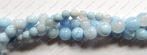 Sky Blue Sardonix Agate  -  Smooth Round Beads  16""
